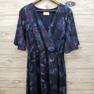 Everly Wrap Style Dark Teal Floral Maxi Dress